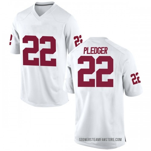 Men's Nike T.J. Pledger Oklahoma Sooners Game White Football College Jersey
