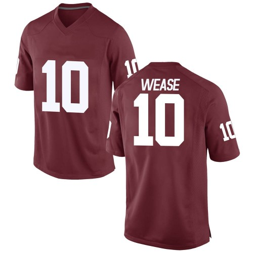 Men's Nike Theo Wease Oklahoma Sooners Game Crimson Football College Jersey