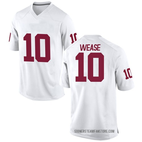 Men's Nike Theo Wease Oklahoma Sooners Game White Football College Jersey