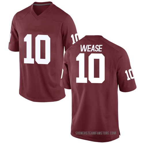 Men's Nike Theo Wease Oklahoma Sooners Replica Crimson Football College Jersey