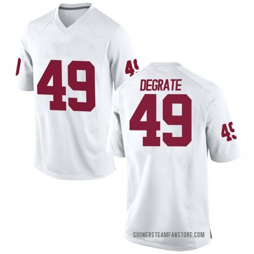 Men's Nike Travis DeGrate Oklahoma Sooners Replica White Football College Jersey
