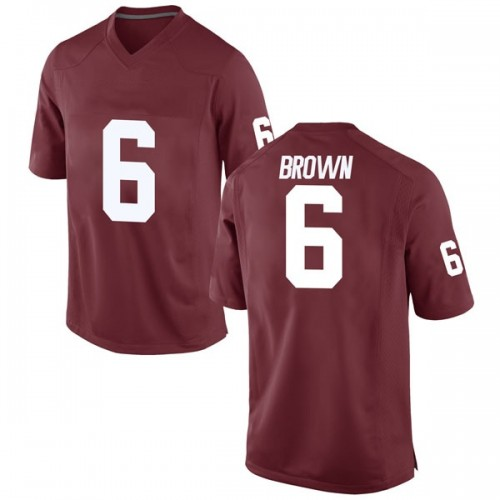 Men's Nike Tre Brown Oklahoma Sooners Game Brown Crimson Football College Jersey