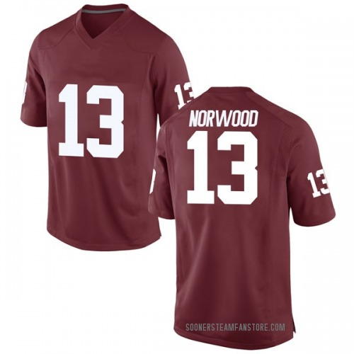 Men's Nike Tre Norwood Oklahoma Sooners Game Crimson Football College Jersey