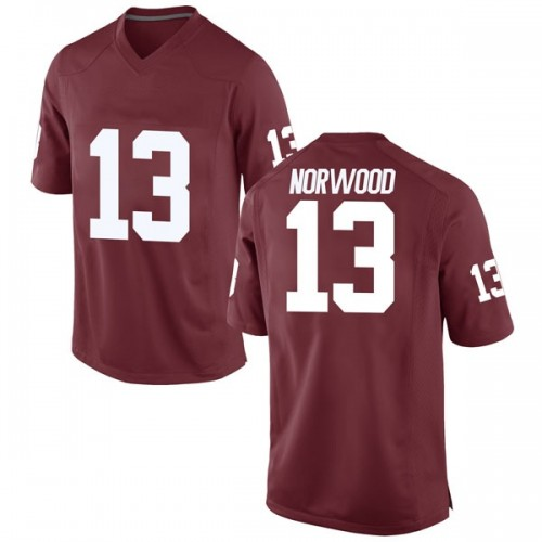 Men's Nike Tre Norwood Oklahoma Sooners Replica Crimson Football College Jersey