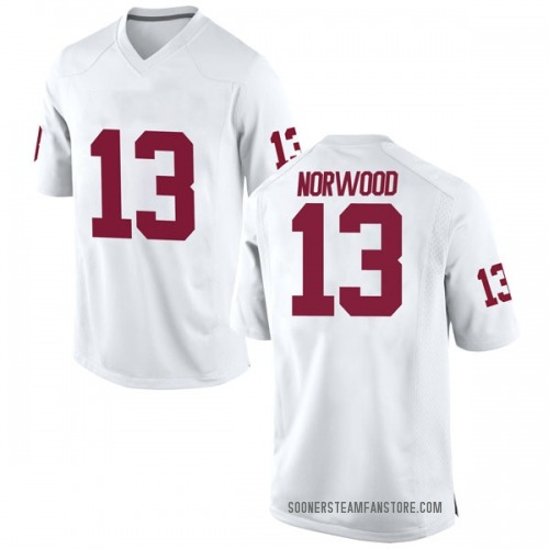 Men's Nike Tre Norwood Oklahoma Sooners Replica White Football College Jersey