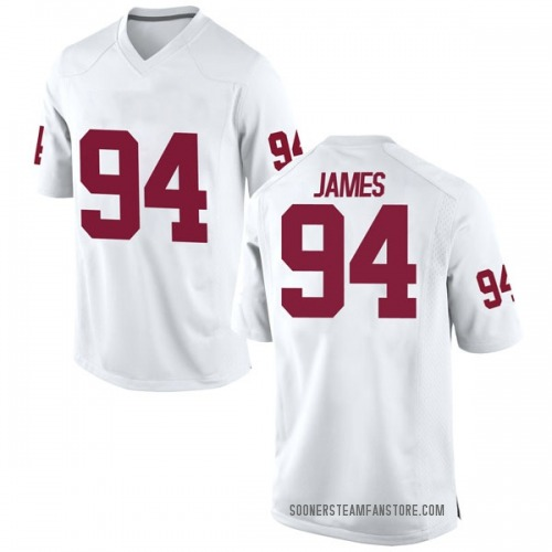 Men's Nike Troy James Oklahoma Sooners Game White Football College Jersey