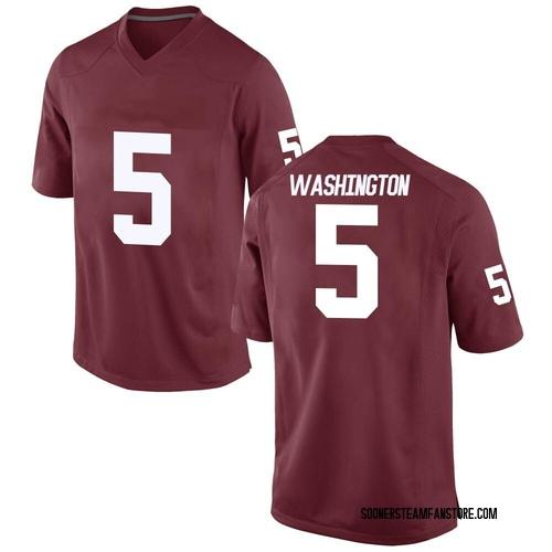 Men's Nike Woodi Washington Oklahoma Sooners Replica Crimson Football College Jersey