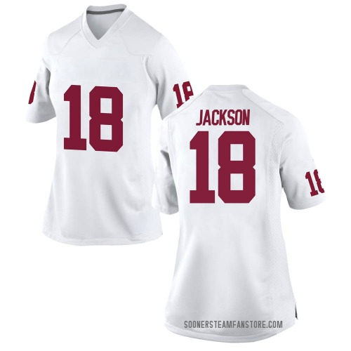 Women's Nike Austin Jackson Oklahoma Sooners Replica White Football College Jersey