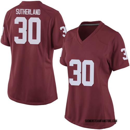 Women's Nike Calum Sutherland Oklahoma Sooners Game Crimson Football College Jersey