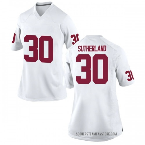 Women's Nike Calum Sutherland Oklahoma Sooners Replica White Football College Jersey
