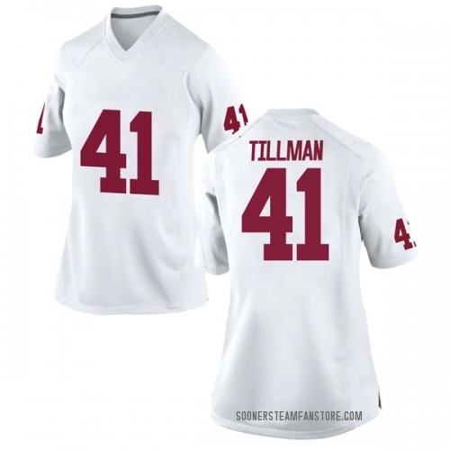 Women's Nike Coby Tillman Oklahoma Sooners Replica White Football College Jersey