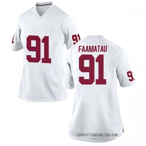 Women's Nike Dillon Faamatau Oklahoma Sooners Game White Football College Jersey