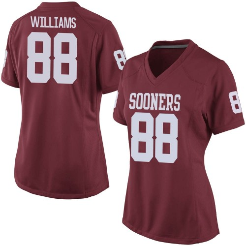Women's Nike Greydon Williams Oklahoma Sooners Game Grey Crimson Football College Jersey