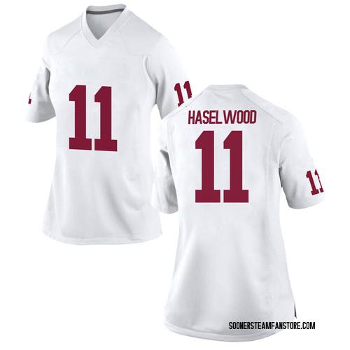 Women's Nike Jadon Haselwood Oklahoma Sooners Replica White Football College Jersey