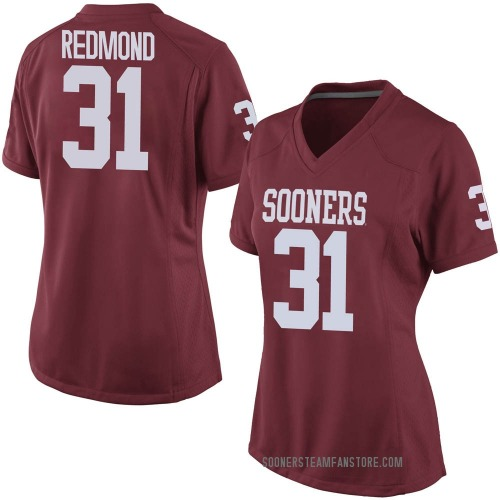 Women's Nike Jalen Redmond Oklahoma Sooners Game Red Crimson Football College Jersey