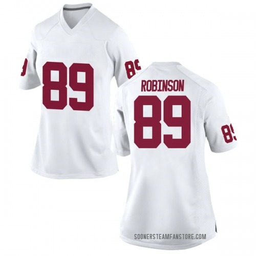 Women's Nike Jaylon Robinson Oklahoma Sooners Replica White Football College Jersey