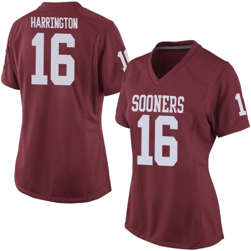 Women's Nike Justin Harrington Oklahoma Sooners Game Crimson Football College Jersey