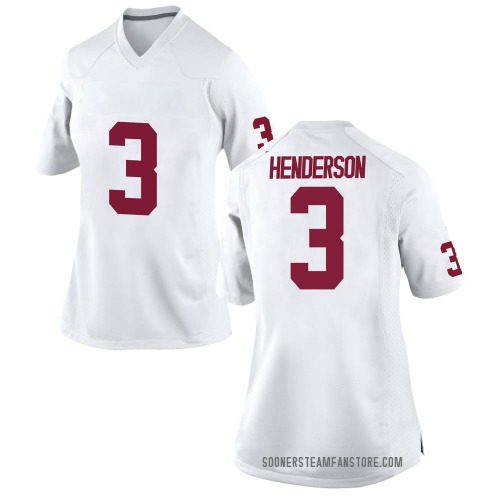 Women's Nike Mikey Henderson Oklahoma Sooners Game White Football College Jersey