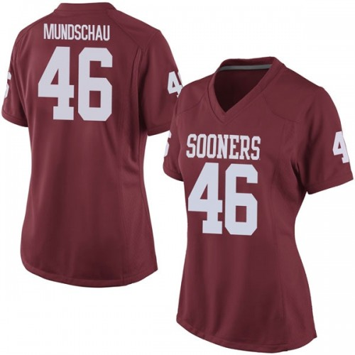 Women's Nike Reeves Mundschau Oklahoma Sooners Game Crimson Football College Jersey