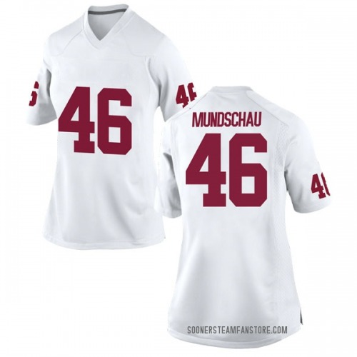 Women's Nike Reeves Mundschau Oklahoma Sooners Replica White Football College Jersey