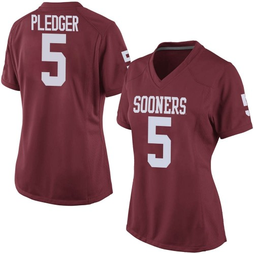Women's Nike T.J. Pledger Oklahoma Sooners Game Crimson Football College Jersey