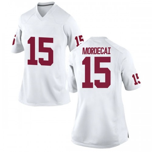 Women's Nike Tanner Mordecai Oklahoma Sooners Replica White Football College Jersey
