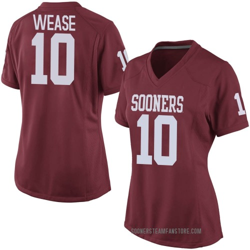 Women's Nike Theo Wease Oklahoma Sooners Game Crimson Football College Jersey