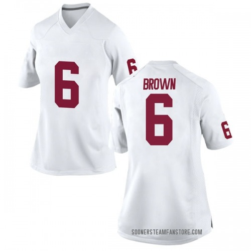 Women's Nike Tre Brown Oklahoma Sooners Game White Football College Jersey
