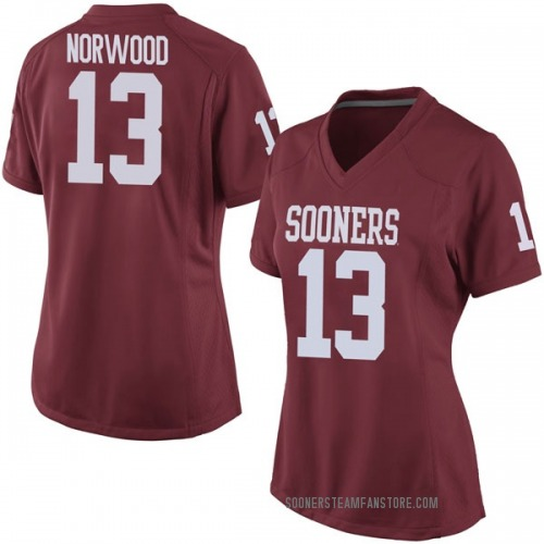 Women's Nike Tre Norwood Oklahoma Sooners Game Crimson Football College Jersey
