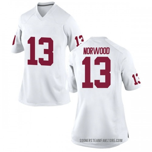 Women's Nike Tre Norwood Oklahoma Sooners Replica White Football College Jersey