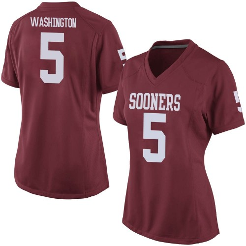 Women's Nike Woodi Washington Oklahoma Sooners Replica Crimson Football College Jersey