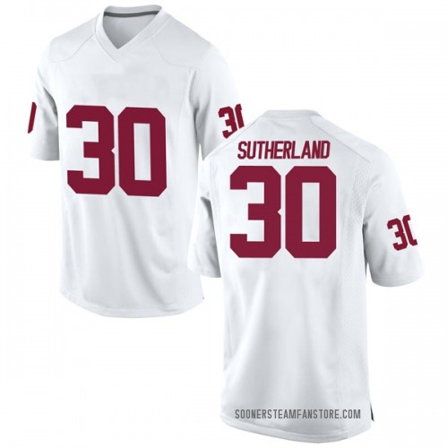 Youth Nike Calum Sutherland Oklahoma Sooners Game White Football College Jersey