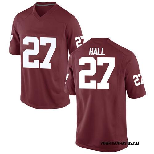 Youth Nike Jeremiah Hall Oklahoma Sooners Game Crimson Football College Jersey
