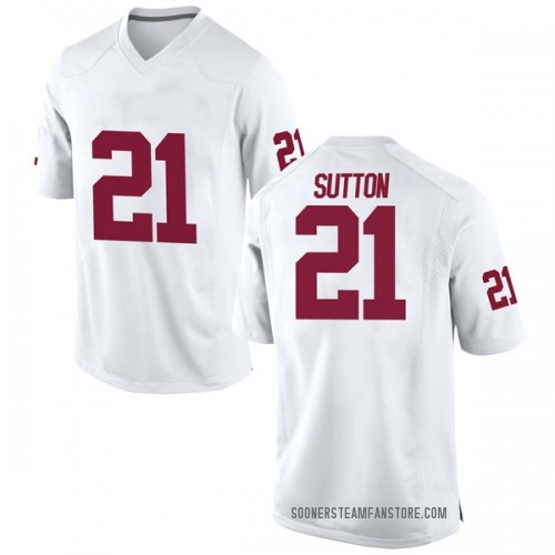Youth Nike Marcelias Sutton Oklahoma Sooners Game White Football College Jersey