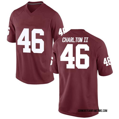 Youth Nike Robert Charlton II Oklahoma Sooners Game Crimson Football College Jersey