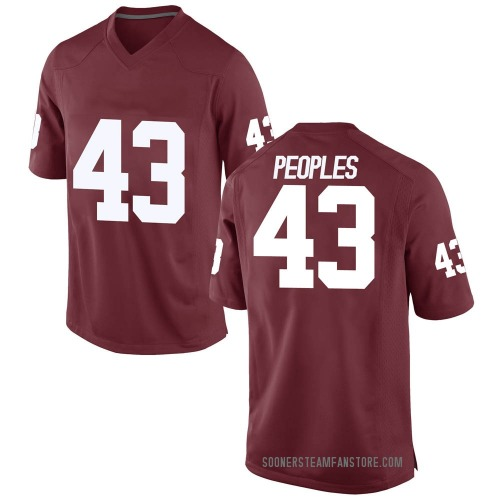 Youth Nike Ryan Peoples Oklahoma Sooners Game Crimson Football College Jersey