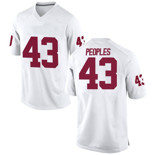 Youth Nike Ryan Peoples Oklahoma Sooners Game White Football College Jersey