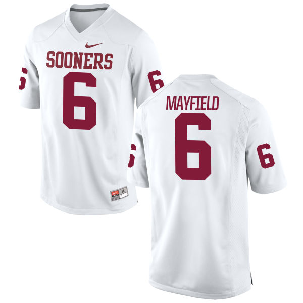 Youth Nike Baker Mayfield Oklahoma Sooners Authentic White Football Jersey