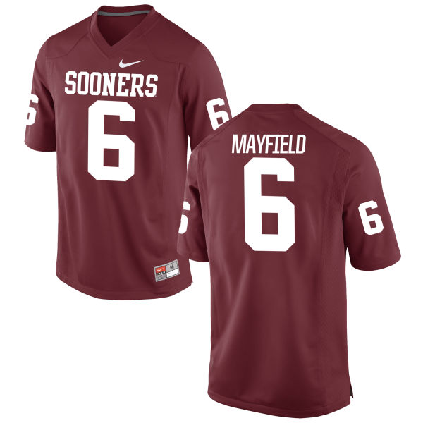 Youth Nike Baker Mayfield Oklahoma Sooners Game Crimson Football Jersey