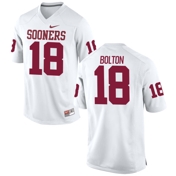 Men's Nike Curtis Bolton Oklahoma Sooners Game White Football Jersey