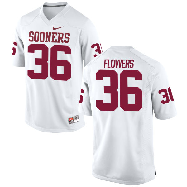 Men's Nike Dimitri Flowers Oklahoma Sooners Authentic White Football Jersey