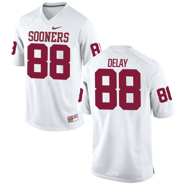 Men's Nike Eric DeLay Oklahoma Sooners Game White Football Jersey