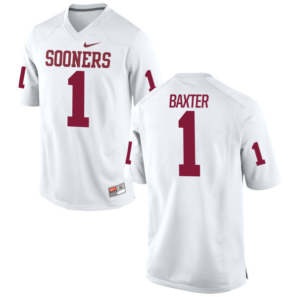 Men's Nike Jarvis Baxter Oklahoma Sooners Game White Football Jersey
