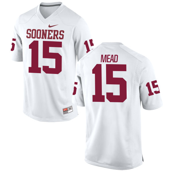 Men's Nike Jeffery Mead Oklahoma Sooners Game White Football Jersey