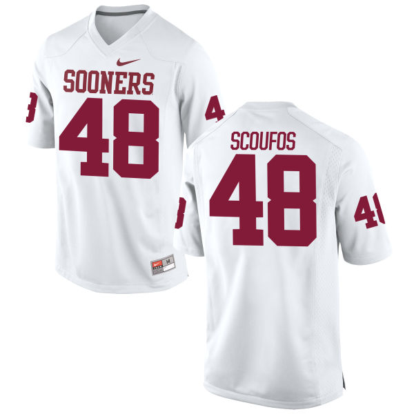 Men's Nike Quint Scoufos Oklahoma Sooners Game White Football Jersey