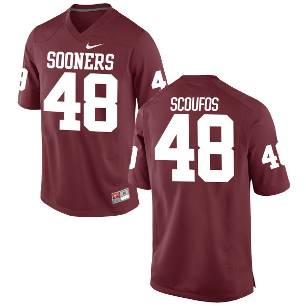 Youth Nike Quint Scoufos Oklahoma Sooners Game Crimson Football Jersey